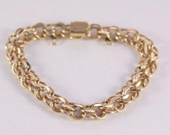 Gold Bracelet 12 KT GF Link Chained Bracelet Signed RYTHM Charm Gold Bracelet
