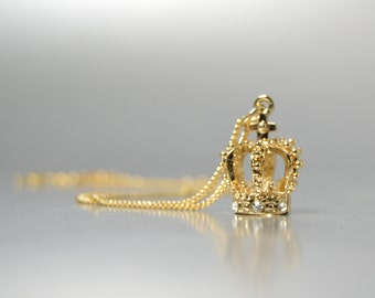 Gold Crown Necklace , Rhinestone Pendant, Gold Queens Crown, Royal Crown Jewelry, Princess Jewelry