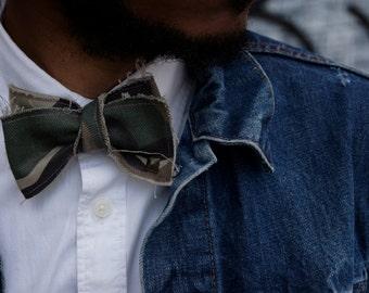 Camo Self-Tie Bowtie with Stud details