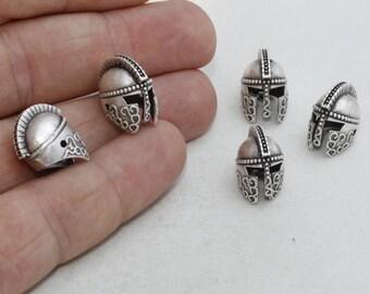 3 Pcs Antique Silver Helmet , Gladiator Beads, Helmet Beads, Helmet, Knight Charms, 10x14mm , KDR22