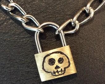 Skull Lock&Chain Necklace