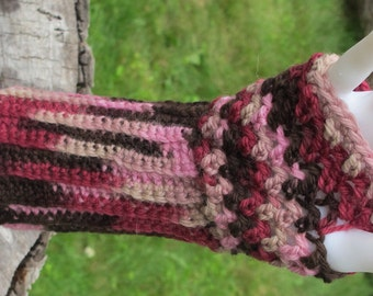 Pink and Brown Multi Color Crochet Long Wool Fingerless Gloves Handwarmers Texting Gloves Ready To Ship