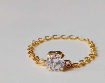 CZ Chain Ring, Diamond Ring. Gold CZ Ring, Silver CZ Ring, Chain Ring, Stackable Ring.