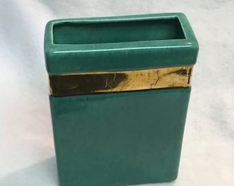 Vintage Ceramic Rectangular Vase with Gold Band