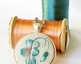 Oak leaf acorn pendant  Oak leaf acorn necklace Hand embroidery necklace Leaf pendant Autumn pendant Fall necklace