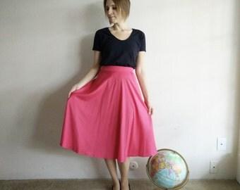 Vintage 1970s Hot Pink Midi Skirt/Large XL
