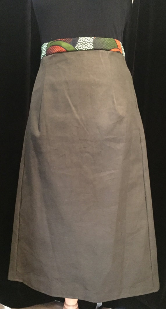 size 14 uk khaki linen a line skirt with by chicntoma