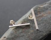 """Bar Stud Earrings. Sterling Silver line stud earrings. """"Cylinder Post Earrings - Medium""""."""