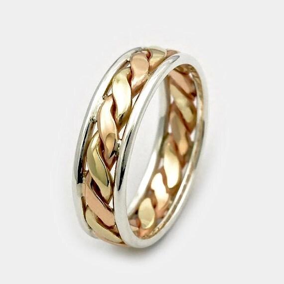 Mens Wedding Bands Unisex Ring 9ct Twist Gold Ring Three