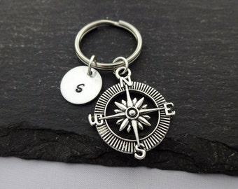 Initial Compass Keyring, Hand Stamped Keyring, Compass Keyring, Travel keyring, Charm, Keychain, Personalised Keyring, Travel Gift, Gifts
