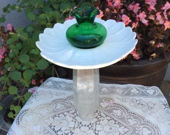 Bird feeder, bird bath, vintage bird feeder, garden sculpture, yard art, garden Totem, outdoor art, bird lover gift,