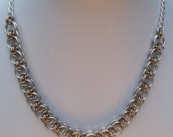 Chainmaille Necklace and Earrings in Silver and Champagne