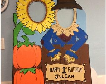 Fall Photo Booth Prop (foam board) . Personalized Scarecrow Pumpkin Photo Op Cutout, Halloween Photo Prop, Pumpkin Parch, Sunflower Prop