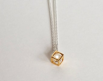 Cube necklace, necklace Silver 925, gold plated cube pendant and diamond Zircon. Necklace 'CUBE' by By Joëlle