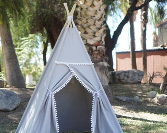 Grey pompom teepee, kids Teepee, tipi, Play tent, wigwam or playhouse with canvas and Overlapping front doors