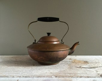 Mid Century Copper Tea Kettle, Stamped Made in Portugal