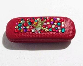 Hummingbird Eyeglass case, Red, Rhinestones, Glasses case, Bird
