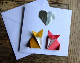 Foxes Silver Heart. Origami Anniversary, Wedding, Engagement Love Card.