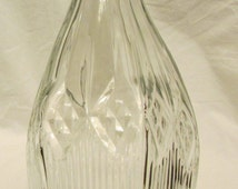 """Clear Glass Vase, Diamond Shapes! Starburst Bottom, 11.75"""" Tall, Unique Waved Rim - Completely MINT! Imprinted """"8"""" on Bottom"""