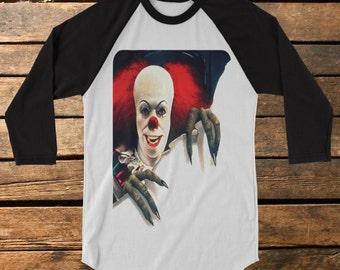 "Stephen King's It ""Pennywise"" Baseball Tee Raglan Shirt"