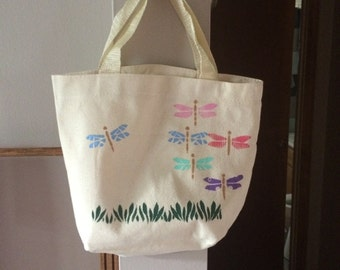 Canvas bag - dragonfly design, stenciled with colored dragonflies and grass