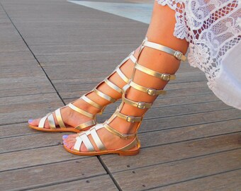 Knee High Gladiator Sandals ''Elektra'', Greek Goddess Gladiator Boots, Gold Tie Up Gladiator Sandals