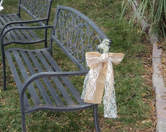 Set of 6 or 8 Burlap Lace Pew Bows, Burlap and Lace Wedding Chair Bows, Rustic/Shabby Chic/Country/Barn Wedding Decor