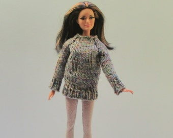 Handknitted XL sweater from multi color cotton yarn for Barbie and similar large fashion dolls