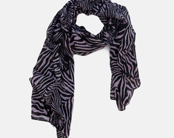 scarf on Sale, Zebra Printed scarf, Black and White Scarf, double Zebra Printed scarf, Summer Scarf, Light Scarf, Gift Scarf