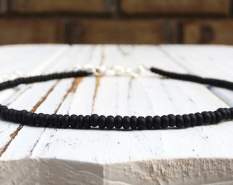 Choker boho black beaded choker for women choker black bead necklace jewelry shop seed bead chocker necklace simple choker bead black choker