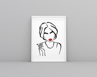 Red lipstick illustration - XL fashion illustration