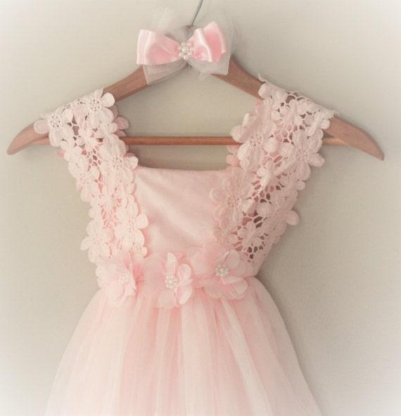 Pink Flower Girl Dress Flower Girl Dress Light Pink