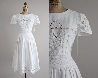 openwork lace dress | white cotton dress | i. magnin dress