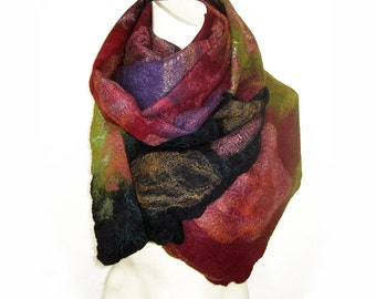 Felted Shawl, Felted Scarf, Wool Silk Scarf, Floral Scarf, Cobweb Felted Scarf, Hand Felted Scarf, Felted Wrap, Wool Shawl, Gift For her