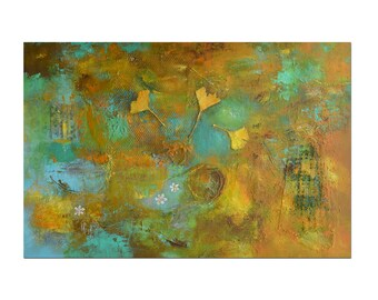 Original Art, Large Wall Art, Textured Painting, Mixed Media Art, Ginkgo Leaf