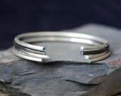 Diamond Bangle Bracelet / Blue  Diamond, Fine Jewelry, Boho Bracelet, Stacking Bracelet, Birthstone Bracelet, April Birthstone, Friendship