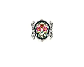 Floral Sugar Skull Ring - Antiqued Silver Filigree Adjustable Band