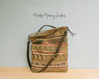 Boho Tribal Aztec Foldover Bag, Convertible Southwest Tote, Olive Rust Crossbody Purse with Custom Leather Strap, Messenger Bag, USA Made