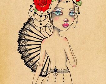 Katerina Pin up Burlesque beaded rose Original Art Giclee fine art print 8x10