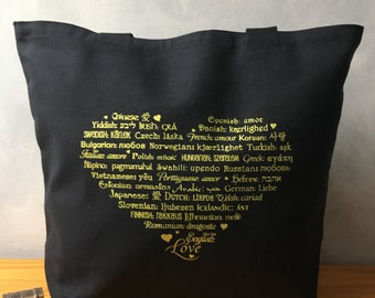 CLEARANCE ~ Yellow Ink on a Black Tote - LOVE Languages Tote Bag - Yellow Gold Ink on Black - Canvas Bag - Carryall Tote - Anniversary Gift