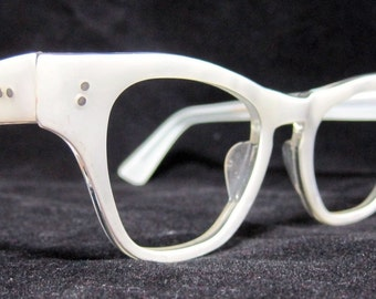 Vintage 60s EyeGlasses. New Old Stock. Pearl White Frames