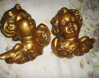 Vintage Pr. Gold gilded Winged Angels/Cherubs/Puttis Ornate Chalkware/plaster Figures Devotional wall Art..