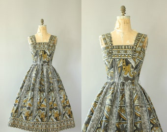 Vintage 50s Dress/ 1950s Cotton Dress/ Vicky Vaughn Brown Ethnic Print Cotton Day Dress L