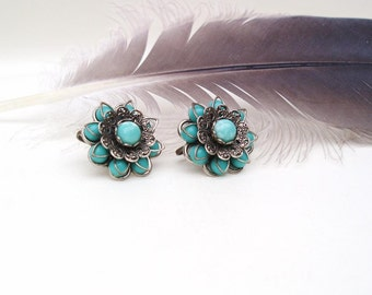 Vintage Turquoise Earrings | Silver Turquoise Earrings | Blue Stone Earrings | Silver Metal Jewelry