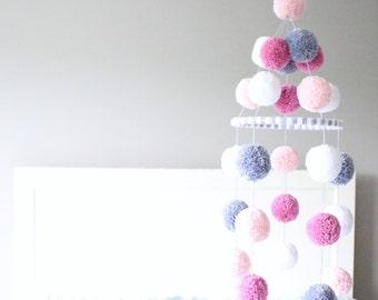 POM POM MOBILE - pale peach + grey + white + raspberry pink pom pom mobile - sweet pom pom baby mobile, nursery decor