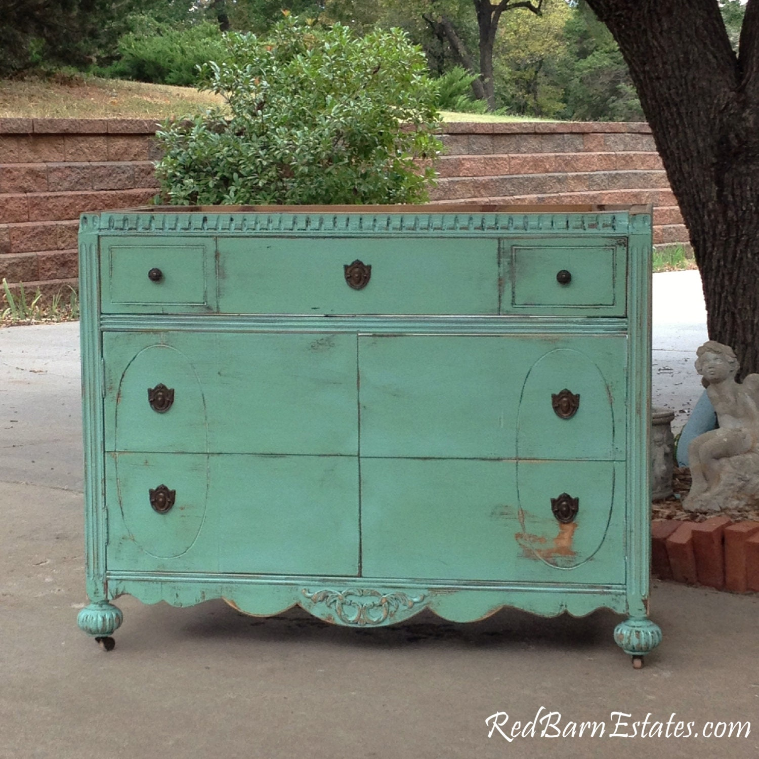 BATHROOM VANITY Shabby Chic Dresser Bathroom Vanity Cabinet CONVERTED From  Antique Dresser And Painted In Your Color