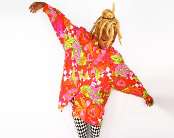 Versace Inspired/ Versace Shirt/ Baroque Shirt/ Club Kid/ 90s Club Kid/ Silk Button Down/ Silk Blouse/ Psychedelic Shirt/ Trippy Clothing