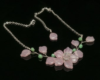 Mint and Pink Flower Bridal Necklace, Pink Flower Necklace and Earring Set, Pink Vine Necklace, Shabby Chic Wedding Nature Jewelry, CPJ N530