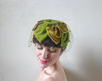 green velvet satin hat with pom pom veil/ vintage 50s hat// large