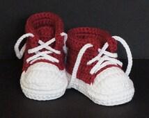 Crochet Baby Shoes,Crochet Baby Booties,Crochet Baby Tennis Shoes,Neutral Baby Gift,Baby Boy Shoes,Baby Girl Shoes,Baby Tennis Shoes, Red